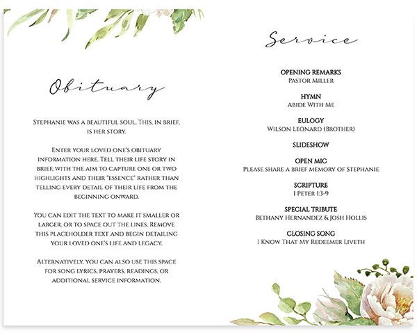 Inside- Funeral Program Templates Vintage Floral Frame