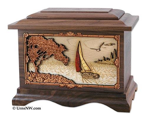 Wooden Carved Cremation Urn
