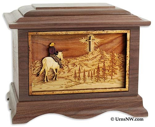 Wooden Engraved Urns for Cowboys