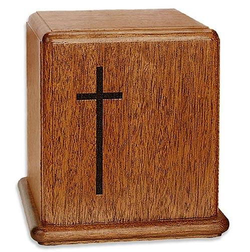 Mahogany Wood Cross Urns
