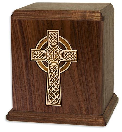 Walnut urn Celtic Cross Inlay