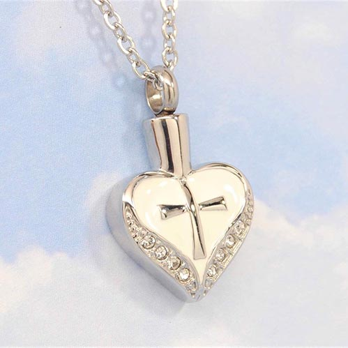 White Heart Urn Necklaces