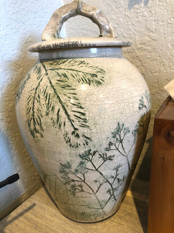 Forest Crackle Raku Urn for Ashes