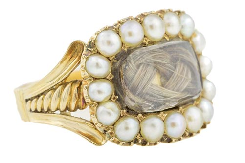 1821 Mourning Ring with Blonde Hair