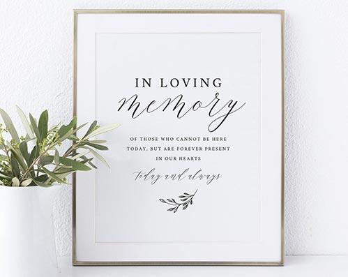 In Loving Memory Memorial Sign