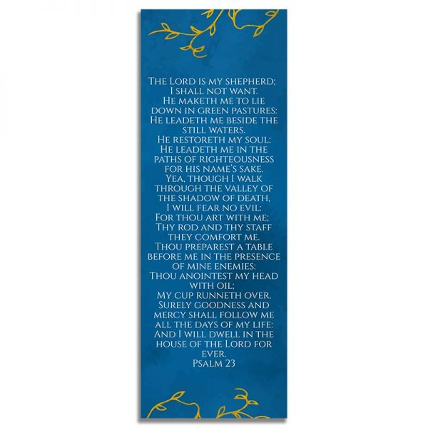 Blue & Gold Branches Design- Back Bookmark Template
