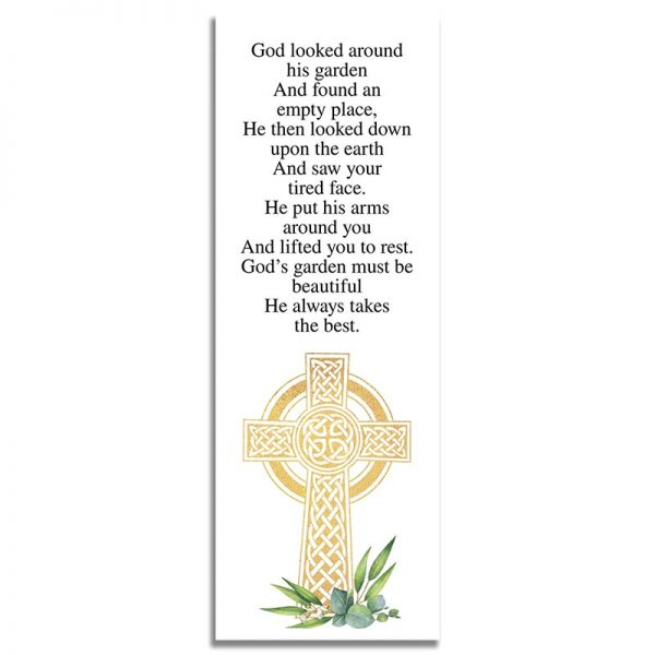 Celtic Cross Template- Back Funeral Bookmark
