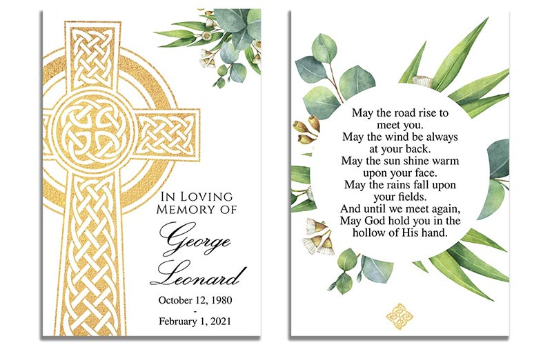 Celtic Cross Funeral Prayer Card Templates