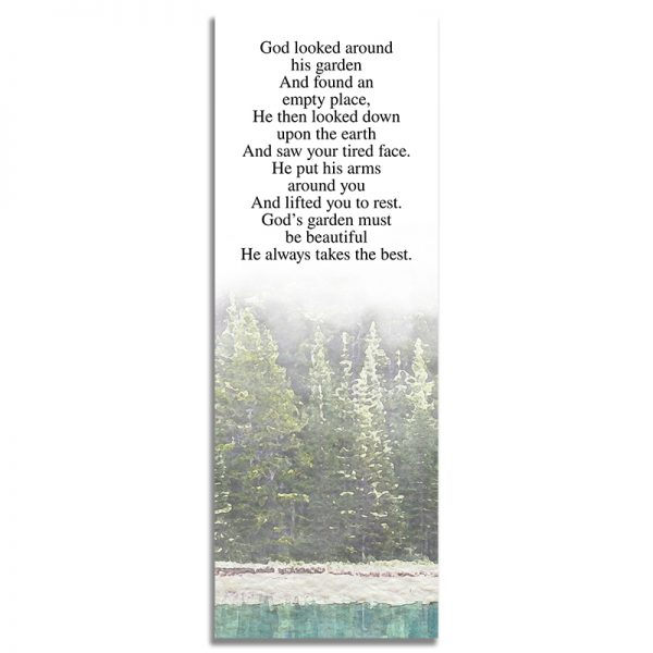 Back Design for the Evergreen Trees Funeral Bookmark
