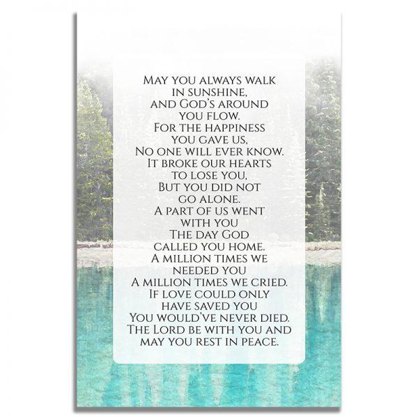 Back Design of Evergreen Trees Funeral Prayer Card