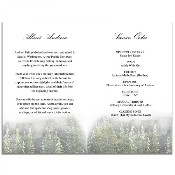 Evergreen Trees Four Page Funeral Program Template