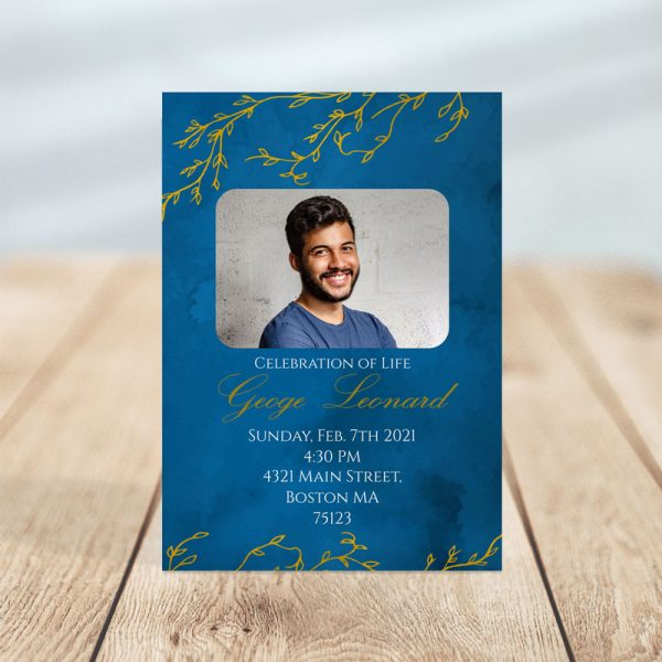 Blue & Gold Branches Design- Funeral Invitation