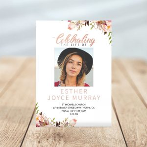 Gentle Florals Life Celebration- Funeral Invitations Template