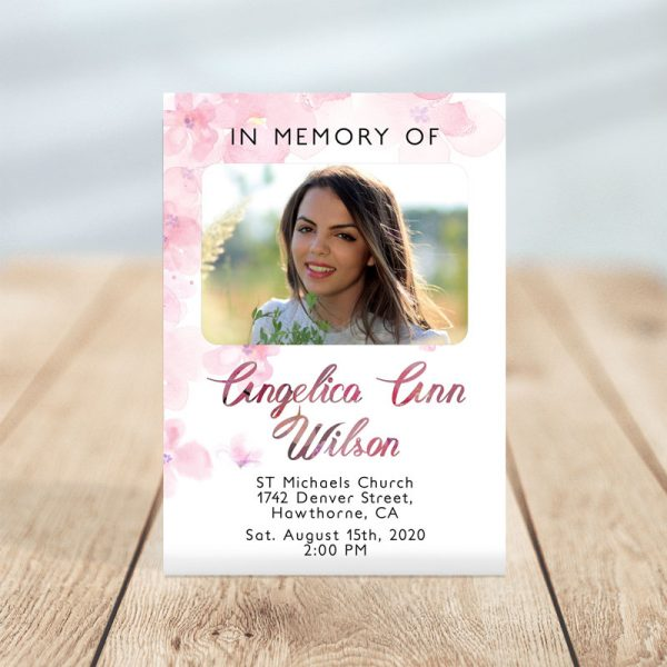 Pink Watercolors- Funeral Invitations Template