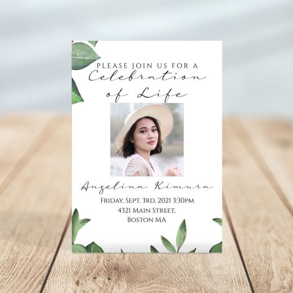 Timeless Green- Funeral Invitation