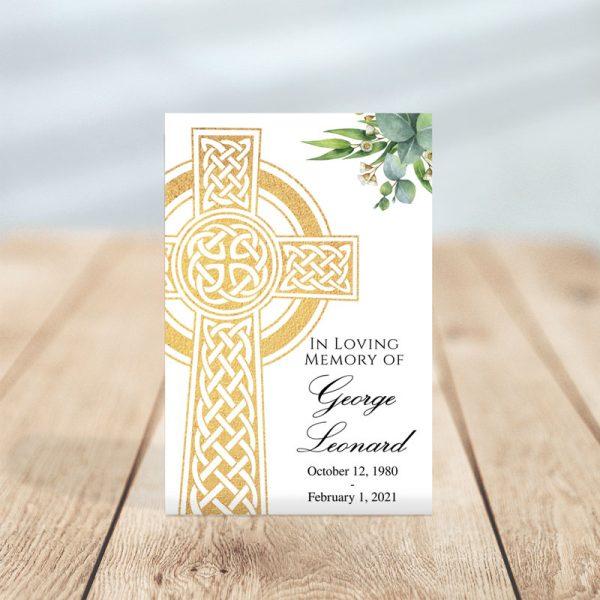Celtic Cross Themed Funeral Prayer Card