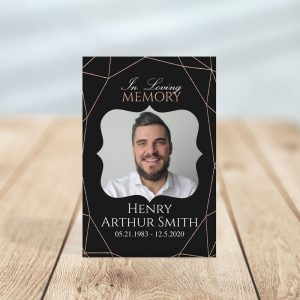 In Loving Memory - Geometric Elegance Funeral Prayer Card
