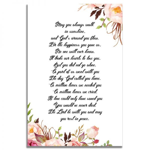 Gentle Florals Life Celebration- Back Prayer Card Template
