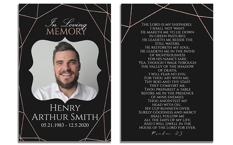Geometric Elegance Funeral Prayer Card