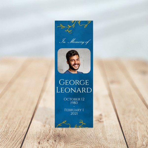 Blue & Gold Leaf Designed Memorial Bookmark