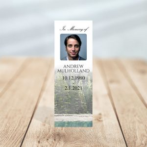 Funeral Memorial Bookmark Template - Evergreen Trees