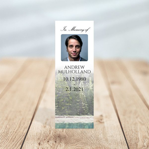 Funeral Memorial Bookmark Template - Evergreen Trees