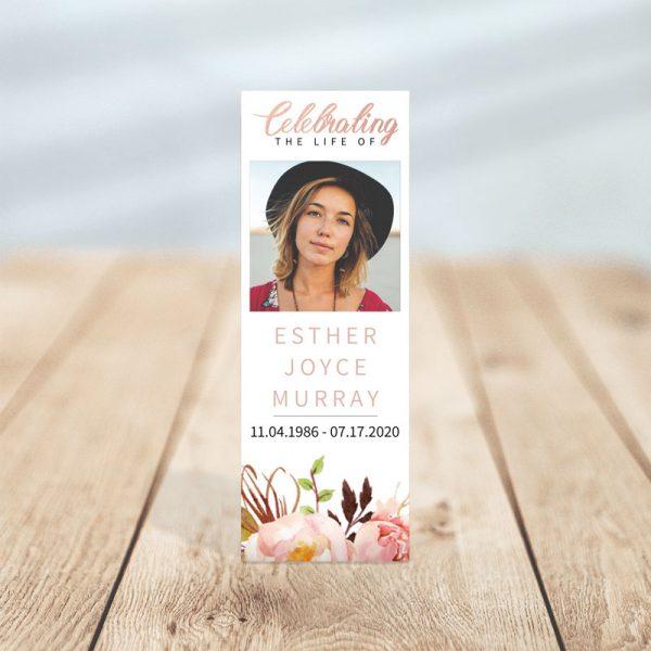 Gentle Florals Memorial Bookmark Template