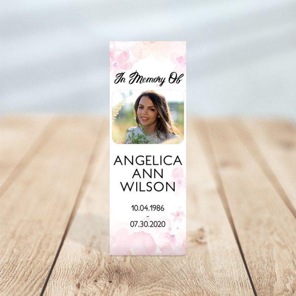 Pink Watercolors Designed Memorial Bookmark