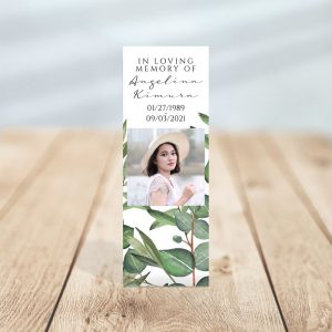 Timeless Green Designed Memorial Bookmark