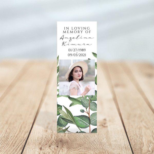 Timeless Green Designed Memorial Bookmark