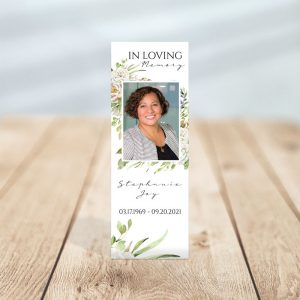 Vintage Floral Frame Designed Memorial Bookmark