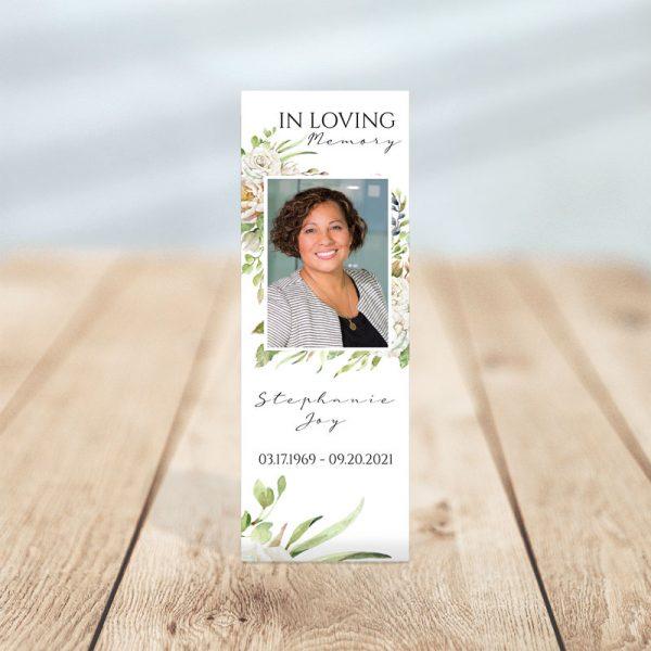 Vintage Floral Frame Designed Memorial Bookmark