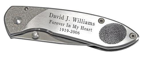 Engraved Fingerprint Pocket Knife