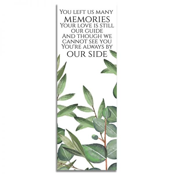 Timeless Green- Funeral Bookmark Back