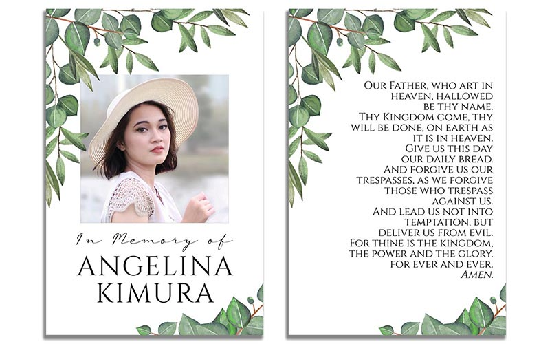 Funeral Prayer Card Templates: Green Funeral Prayer Card