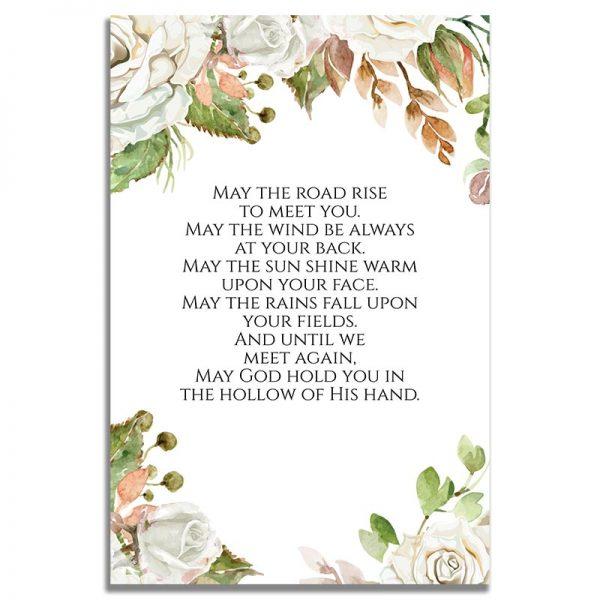 Vintage Floral Frame- Back Prayer Card