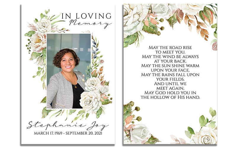 Vintage Floral Prayer Card Template