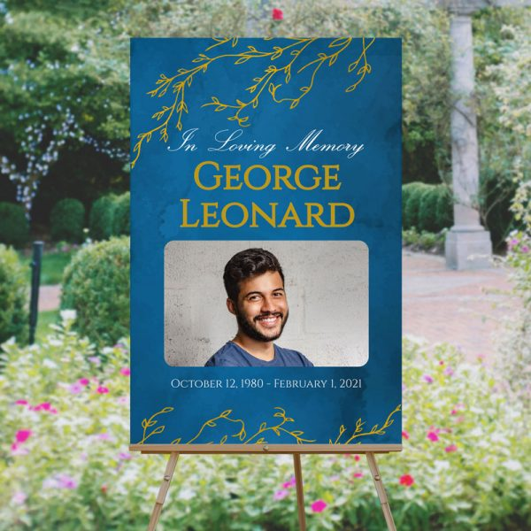 Blue and Gold Branches Funeral Welcome Sign Template