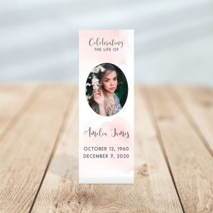 Blush Funeral Bookmark