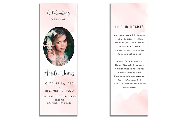 Front and Back - Blush Funeral Bookmarks
