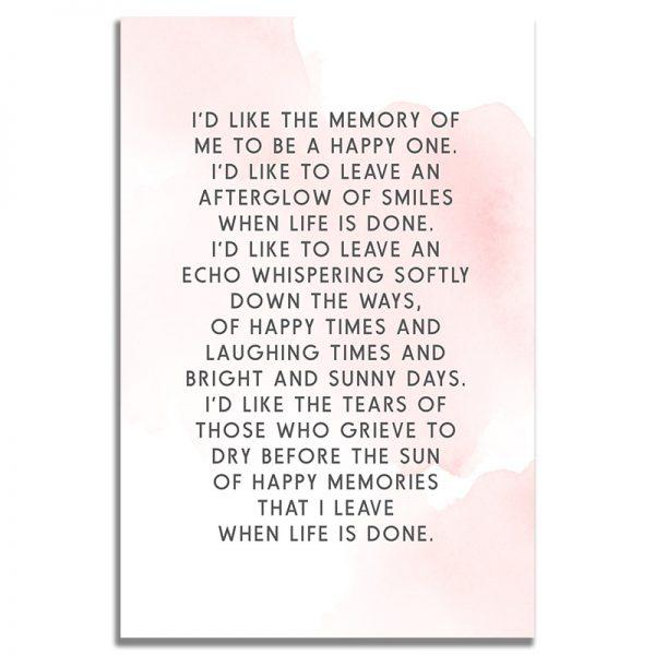 Back - Blush Funeral Prayer Card Template