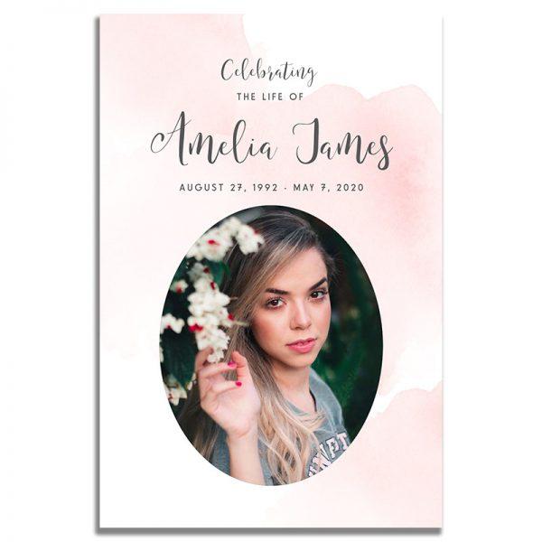 Front - Blush Funeral Prayer Card