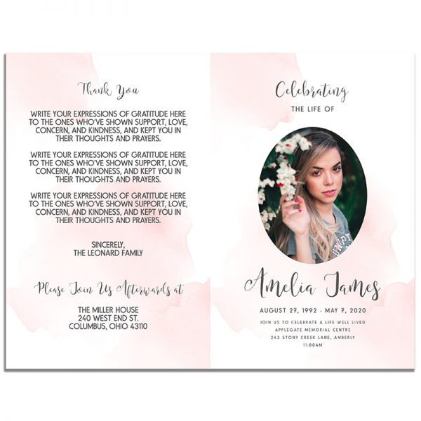 Front & Back Pages of 4 Page Blush Funeral Program