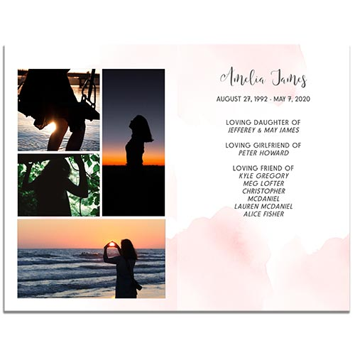Page 3 of the 8 Paged Blush Funeral Program Template