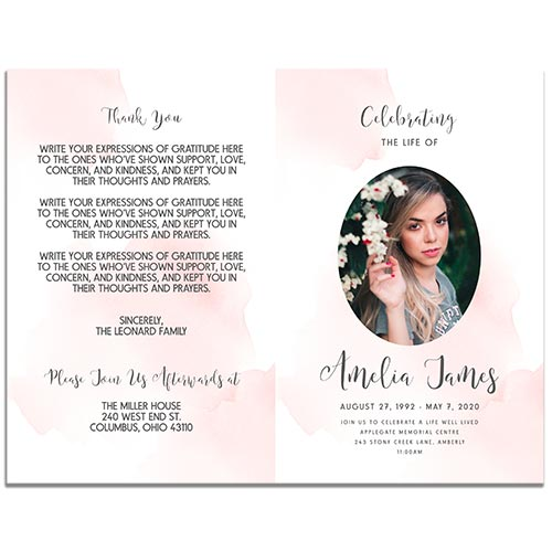 Front and Back Sides of the Blush Funeral Program Template