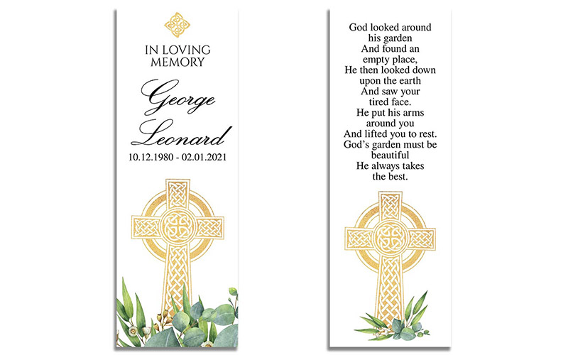 Front and Back - Celtic Cross Funeral Bookmarks