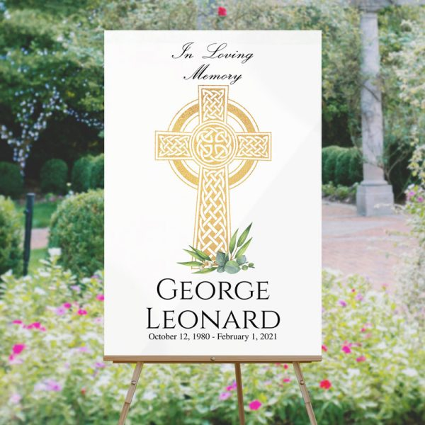 Funeral Welcome Sign Templates: Celtic Cross