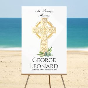 Celtic Cross Funeral Welcome Sign Templates