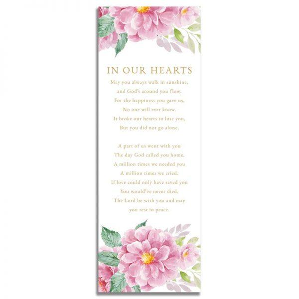 Dusty Fleur Funeral Bookmark - Back