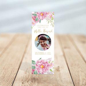 Dusty Fleur Funeral Bookmark